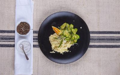 Prato de 20 minutos: Risoto de couve-flor e abobrinha com parmesão e raspas de laranja